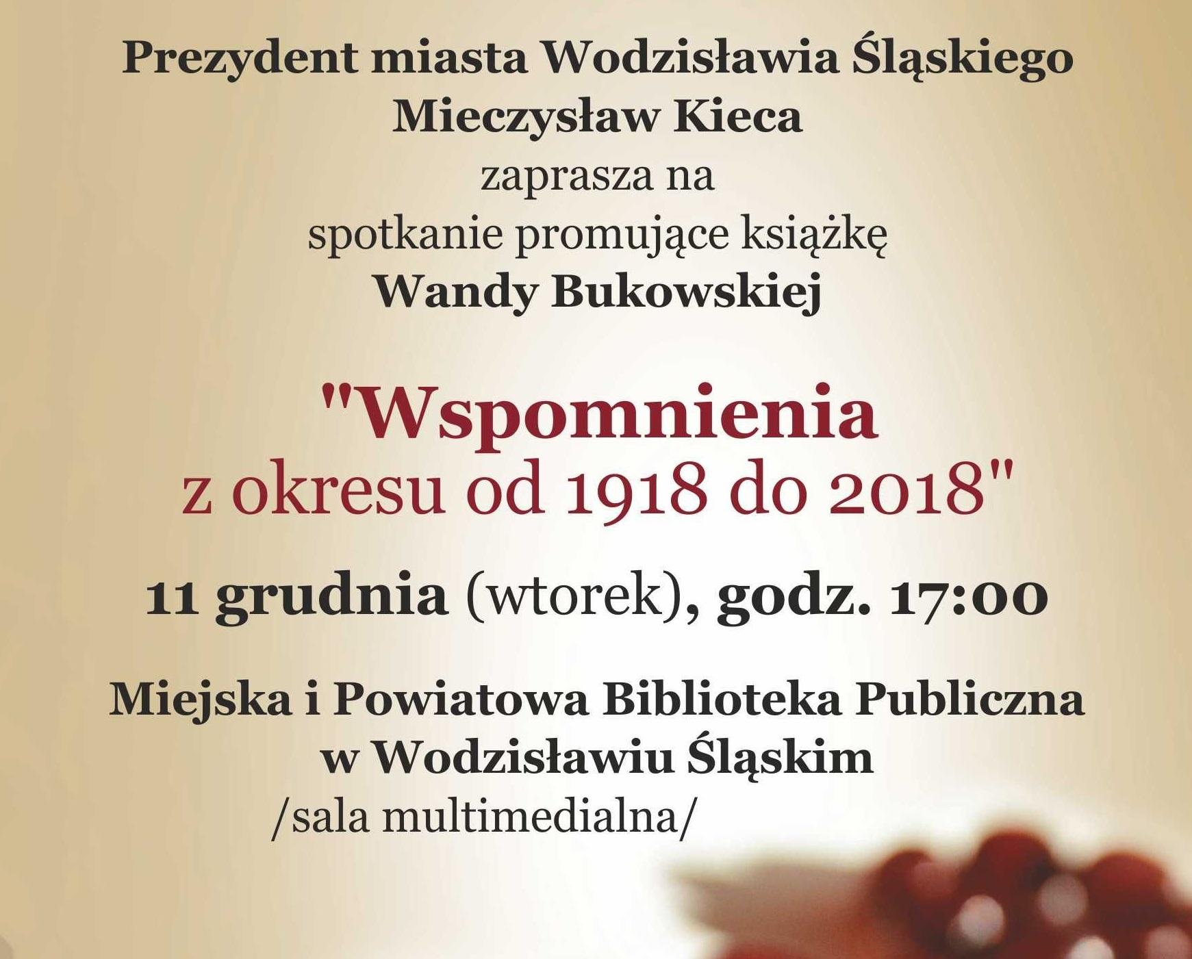 SPOTKANIE Z WANDĄ BUKOWSKĄ – 11 Grudnia 2018 Godz. 17.00