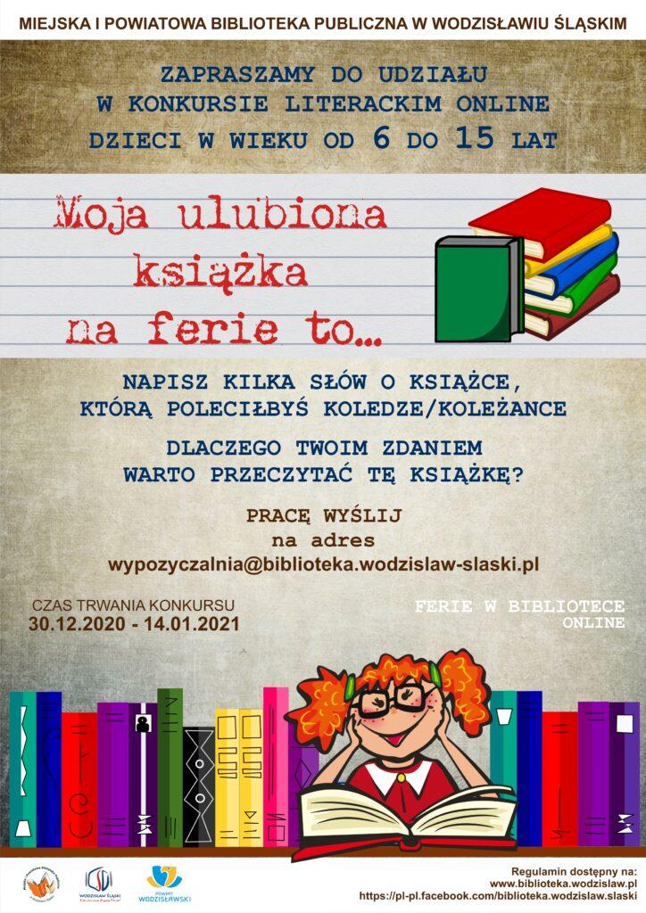 """Ferie w Bibliotece online, konkurs literacki """"Moja ulubiona książka na ferie to..."""" - plakat"""