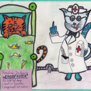 Chory Kotek - Praca Plastyczna Konkursu Rysowane Wierszyki