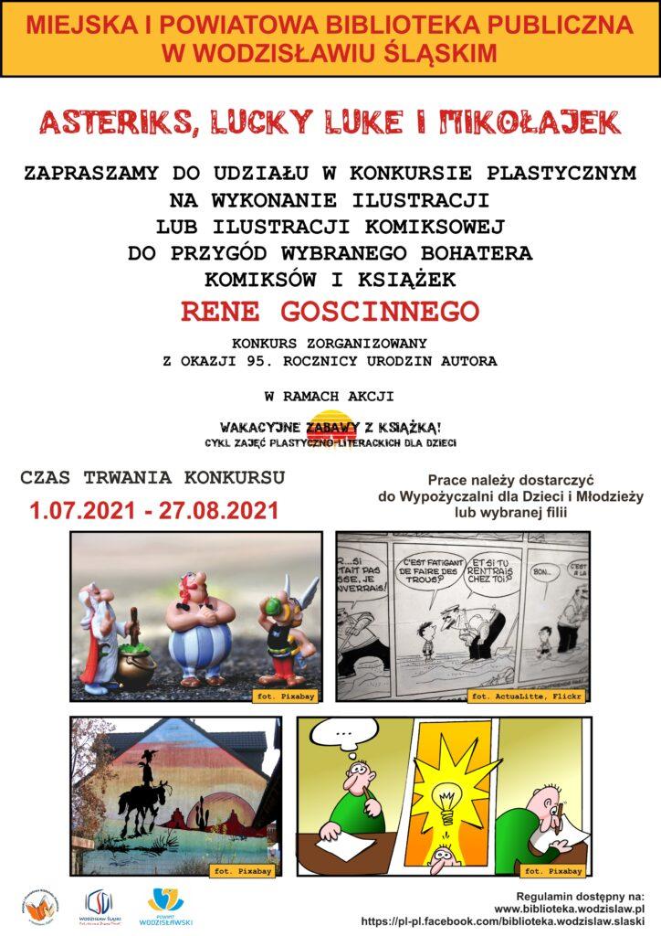 """Konkurs plastyczny"""" Asteriks, Lucky Luke i Mikołajek"""" na wykonanie ilustracji lub ilustracji komiksowej do przygód wybranego bohatera komiksów i książek Rene Goscinnego, lipiec-sierpień 2021"""